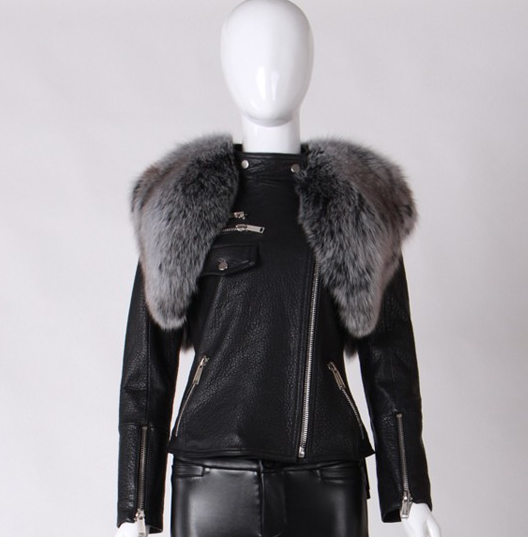 Livia Black Leather and Fur Biker Jacket