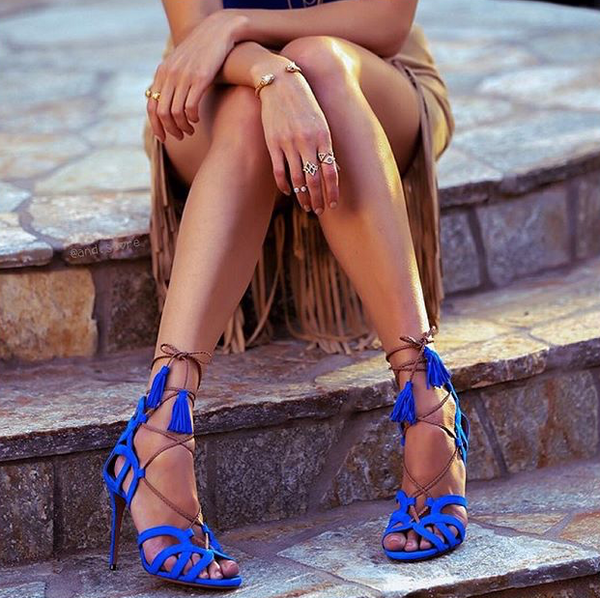 Millie Blue Suede Sandals