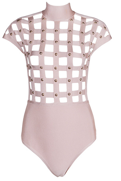Slay Accessories. Lattice studded bodysuit. Bodysuit accented with studs.