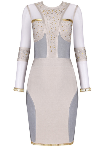 Rosalita Embellished Blush and Gray Bandage Dress