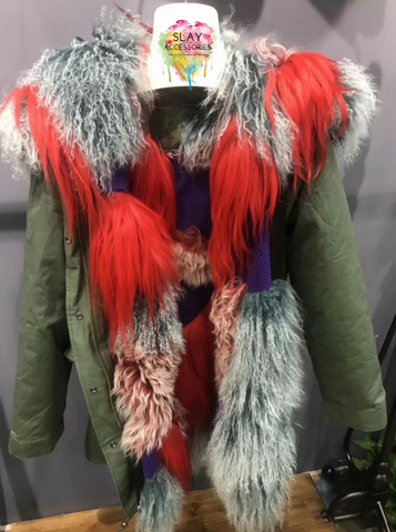 Slay Accessories. Fur patchwork parka.