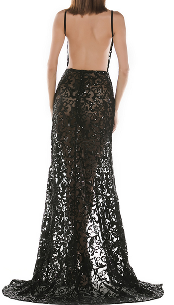 Sher Black Sheer Sequins Dress