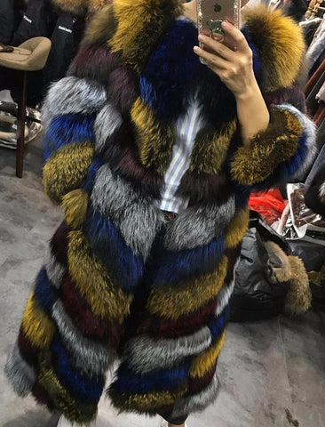Slay Accessories. Colorful long fur coat.