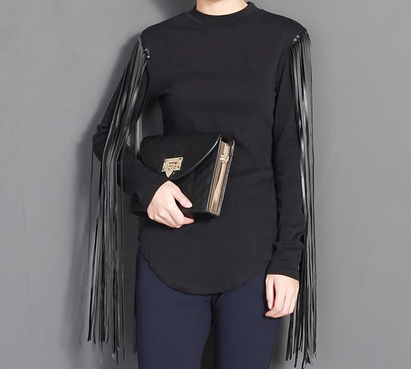 Long Sleeve Leather Fringes TShirt Top