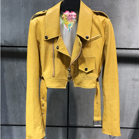 Slay Accessories. Yellow leather crop motorcycle jacket.
