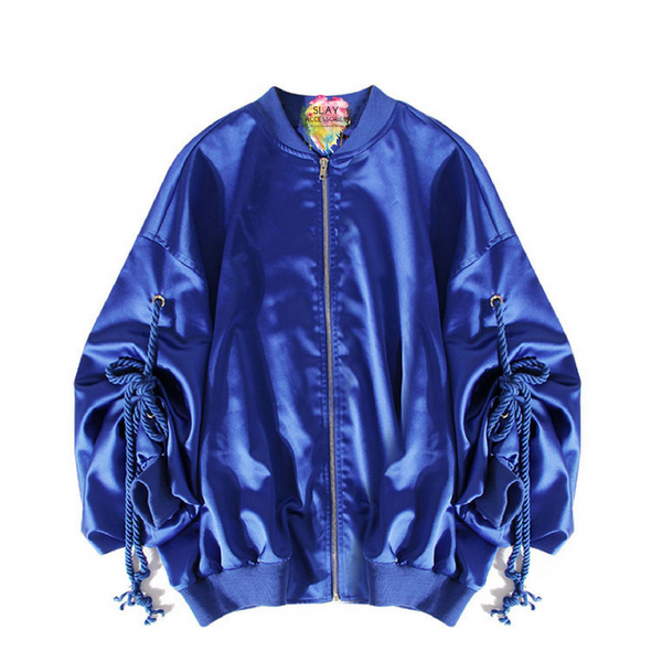 Slay Accessories. Blue satin bomber jacket with tie up sleeves.