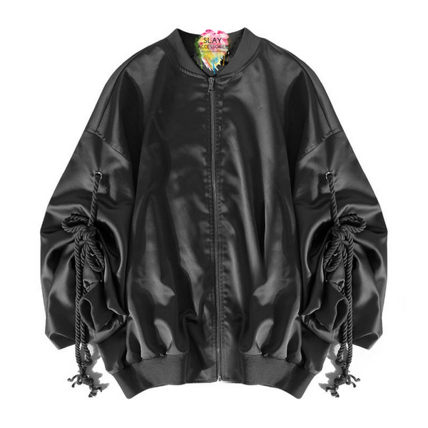 Slay Accessories. Black satin bomber jacket with tie up sleeves.