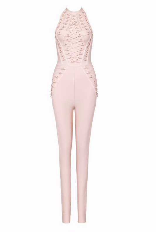 Slay Accessories gold metal embellished nude jumpsuit. Metal embellished bandage jumpsuit.