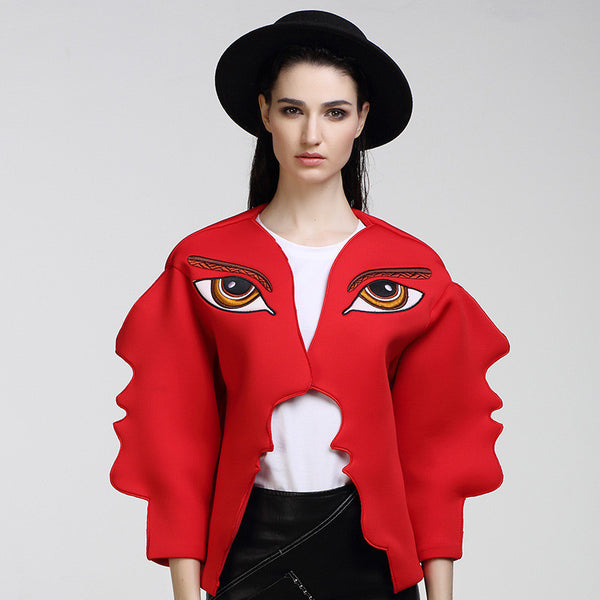 Slay Accessories. Embroidered face jacket. Chic red sweater jacket.