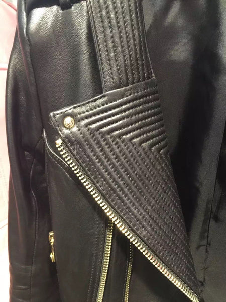 Alana Fitted Black Leather Biker Jacket