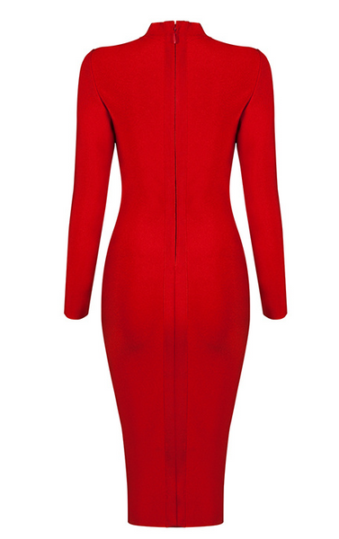 Slay Accessories. Red midi bandage dress with side zipper detail. Red bodycon midi dress