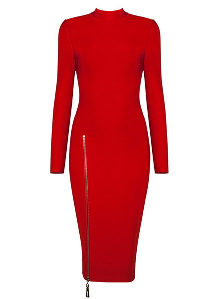 Slay Accessories. Red midi bandage dress with side zipper detail. Red midi bodycon dress.