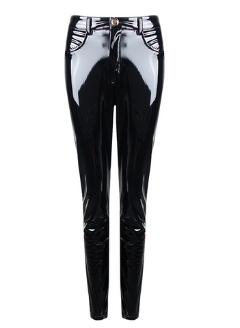 Slay Accessories. Black patent leather stretch pants.