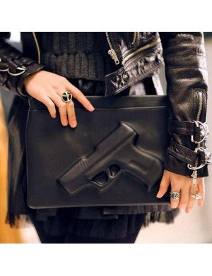 Natasha 3D Black Leather Clutch