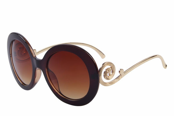 Baroque Round Frame Sunglasses Women Fashion Sun Glasses