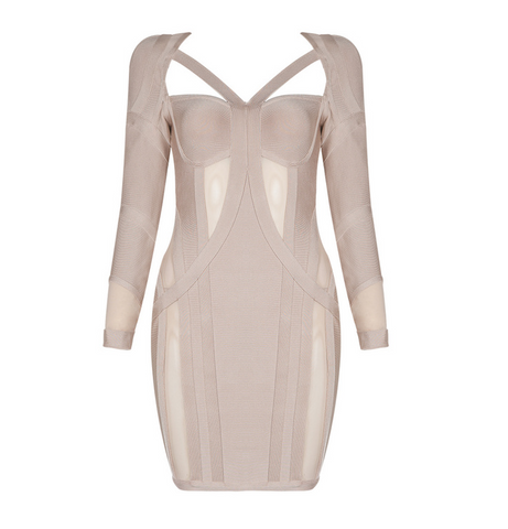 Slay Accessories. Nude color bandage dress with sheer paneling inserts.