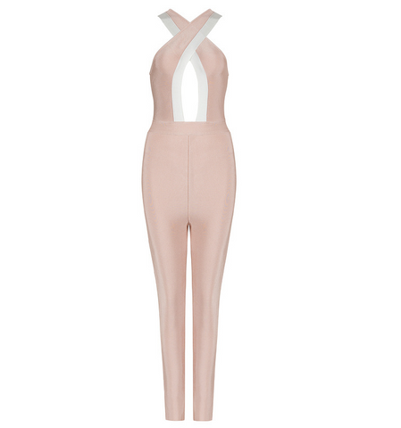 Slay Accessories Beige and white bandage jumpsuit.