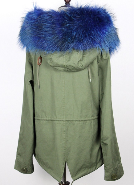 Slay Accessories. Patchwork blue fur parka. Green embellished parka with blue fur trim.