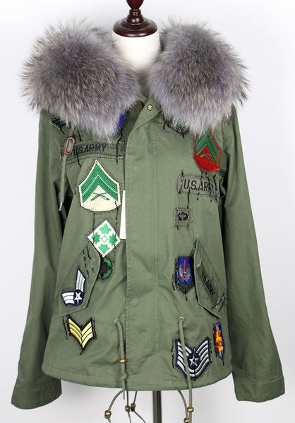 Slay Accessories. Patchwork gray fur parka. Green embellished parka with gray fur trim.