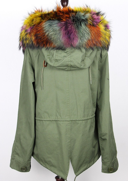 Slay Accessories. Patchwork rainbow fur parka. Green embellished parka with rainbow fur trim.