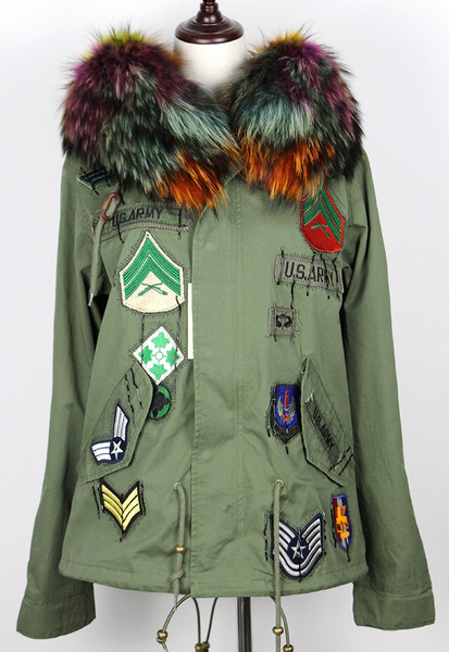Slay Accessories. Patchwork rainbow fur parka. Green embellished parka with rainbow fur trim