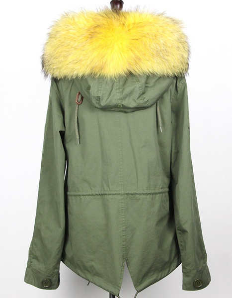 Slay Accessories. Patchwork yellow fur parka. Green embellished parka with yellow fur trim.