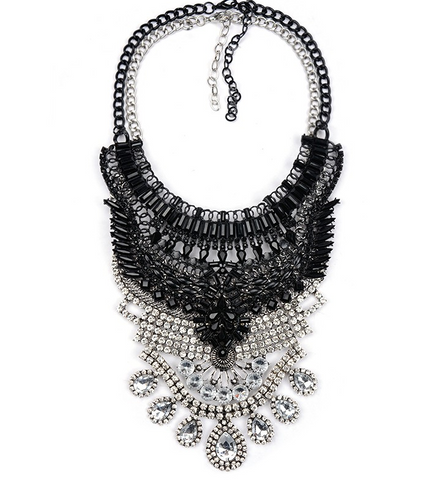 Slay Accessories. Black and crystal chain statement necklace.