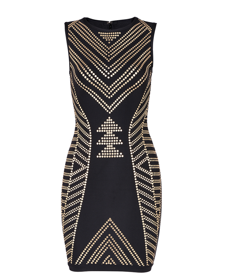 Slay Accessories black bandage dress with gold geometric prints.