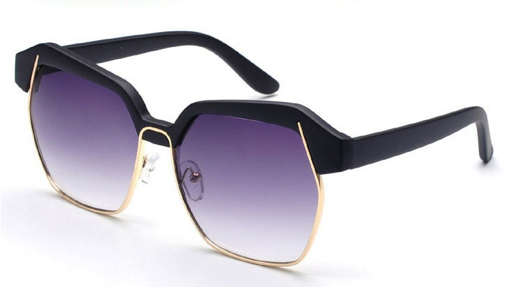 Gold Accented Geometric Frame Sunglasses