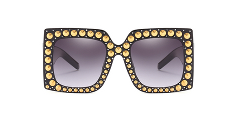 Slay Accessories. Designer style sunglasses. Gold studded oversize sunglasses.