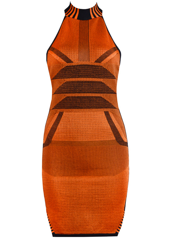 Slay Accessories. Runway style bandage mini dress. Charcoal and orange mini dress.