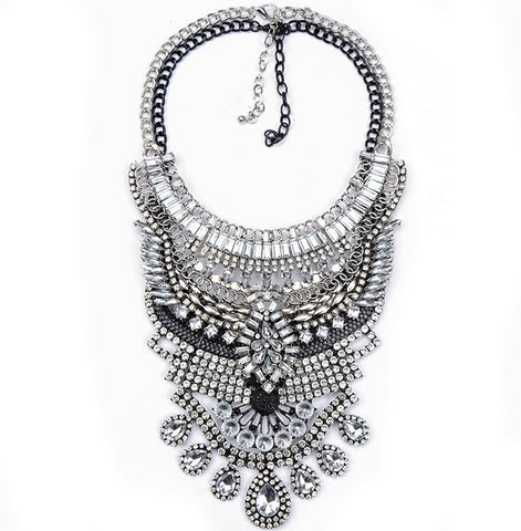 Slay Accessories. Silver, black and crystal chain statement necklace.
