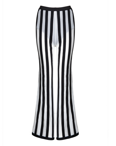 Slay Accessories. Black and white stripe wide leg bandage trousers.