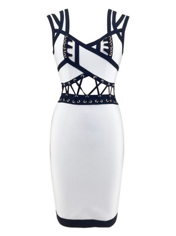 Slay Accessories black and white bandage dress with criss cross detailing.
