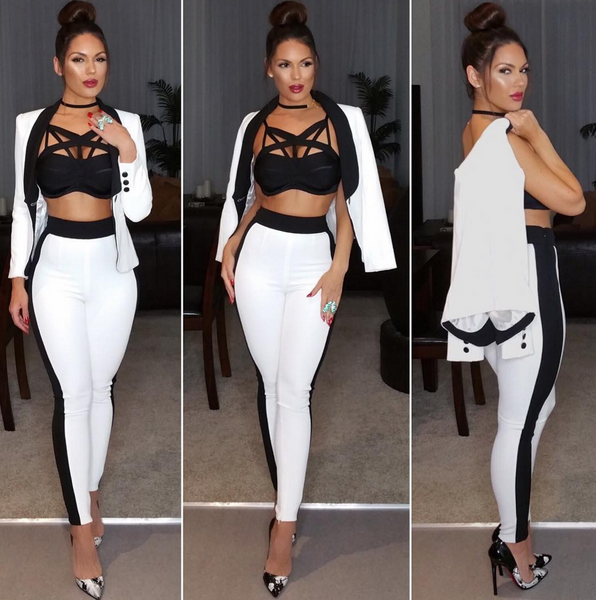 Celina Two Piece Black and White Pant Suit