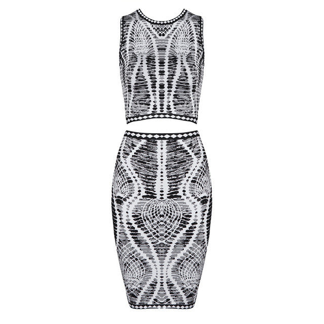 Two Piece Bandage Skirt and Top Set Fashion Bodycon Dress