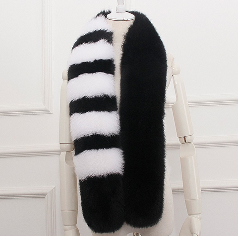 Slay Accessories. Black and white stripe fox fur scarf.