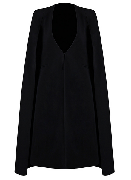 Slay Accessories. Black cape jacket. Black cape swing coat.