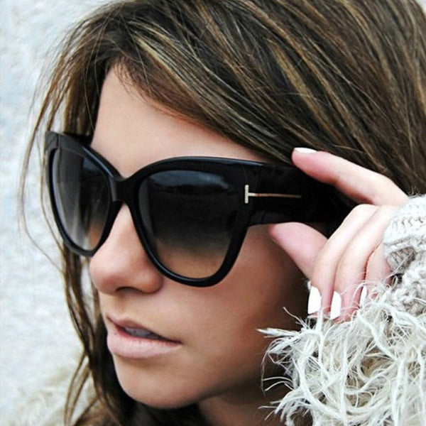 Reba Oversized Cat Eyes Metal Side Accent Sunglasses