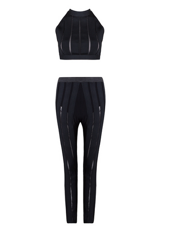 Slay Accessories black bandage and sheer pant set. Matching crop top and leggings.