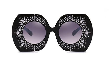 Slay Accessories.  Black crystal embellished oversized sunglasses.