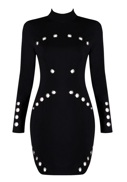 Slay Accessories. Black mini dress with metal eyelets. Studded white bodycon dress.