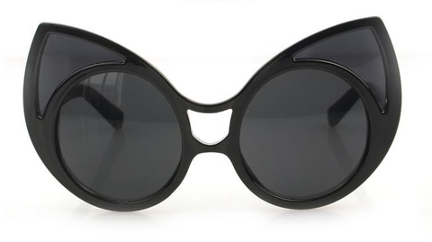 Large Black Frame Cat Eye Sunglasses