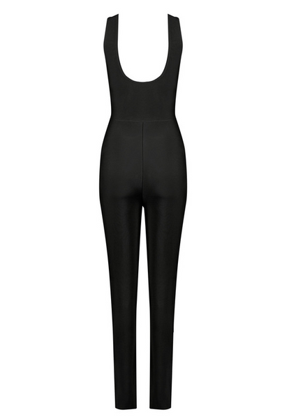 Slay Accessories. Black bandage jumpsuit. Bodycon jumpsuit with front zipper.