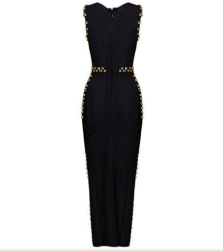 Black and Gold Metal Accent Long Bodycon Bandage Dress Fashion Gown
