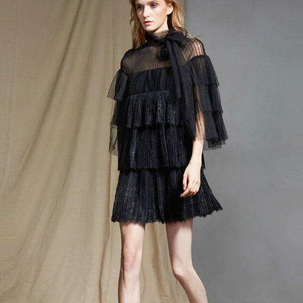Chrissie Black Sheer Ruffles Mini Dress