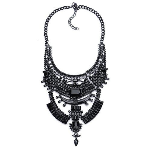 Black Gunmetal Chunky Fashion Collar Bib Necklace