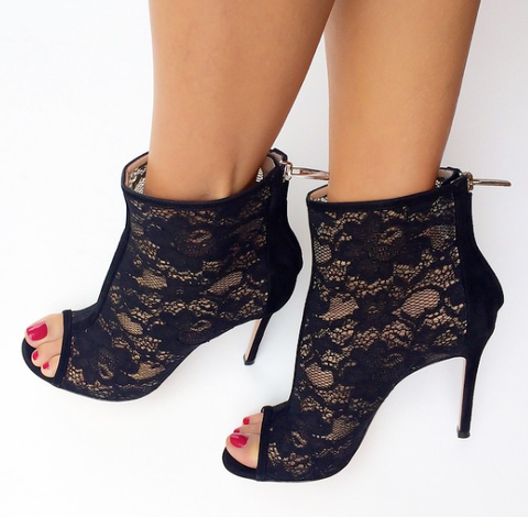 Cici Black Lace Booties