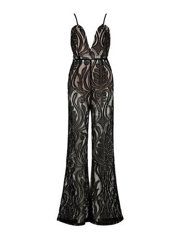 Slay Accessories. Black lace wide leg jumpsuit.