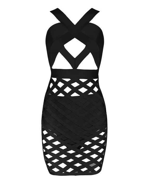 Slay Accessories. Black lattice bandage dress. Cut out bodycon dress.